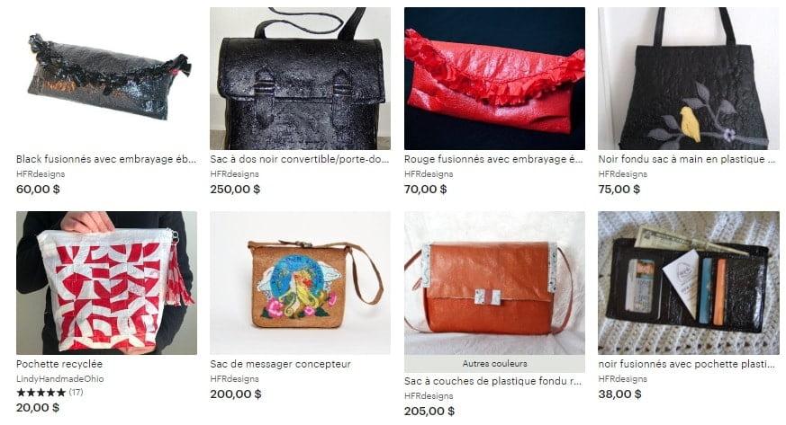Capture d'écran d'un site web vendant des produits faits à base de sachets plastiques fusionnés-min